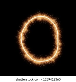 Letter O of alphabet written by squib sparks on a black background.