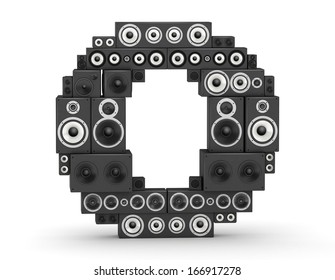 Letter O from black hi-fi speakers sound systems