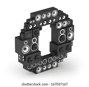 Letter O from black hi-fi speakers sound systems  in isometry