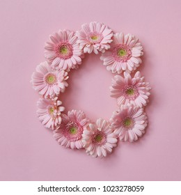 letter O made of flowers. Part of the word LOVE , floral alphabet