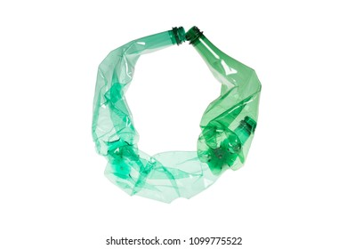 Letter O made of plastic bottle on isolated white background; our irresponsible, excessive consumerism of plastic; social advertising