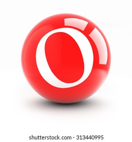 Letter o on a bright red balls with reflections isolated on white.