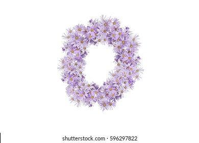 Letter O of purple flowers isolated on white background, font for your design, sample text / symbol / alphabet