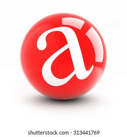 Letter a on a bright red balls with reflections isolated on white.