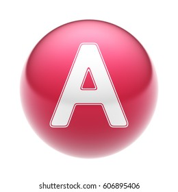 The Letter on The red Ball. 3D illustration.