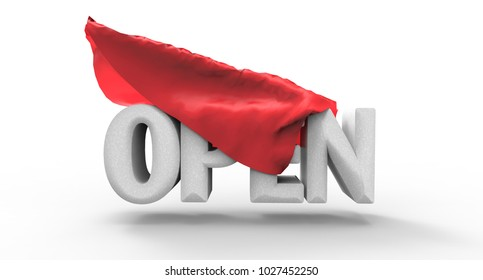 """letter """"OPEN"""" covered a red cloth on white background. 3D render illustration."""