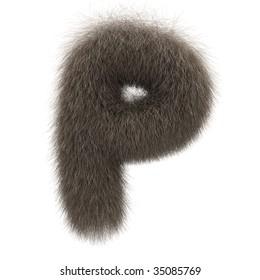 Letter P from fur alphabet