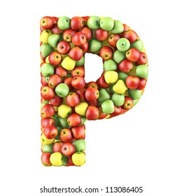 Letter - P made of apples. Isolated on a white.