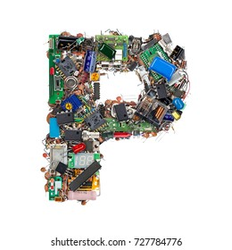 Letter P made of electronic components isolated on white background