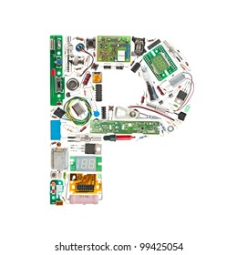 Letter 'P' made of electronic components isolated in white background