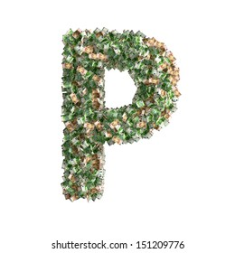 Letter P made from Euro banknotes - lots of banknotes form the letter P - 3D Rendering
