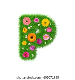 Letter P made of grass and colorful flowers, spring concept for graphic design collage