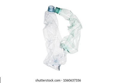 """Letter P  made of plastic bottle is to form word """"pollution""""on isolated white background; our irresponsible, excessive consumerism of plastic, social advertising; world environment day concept"""