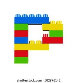 Letter P plastic font alphabet character made of toy construction brick blocks. Isolated on white background