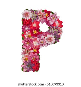 letter P red flowers alphabet