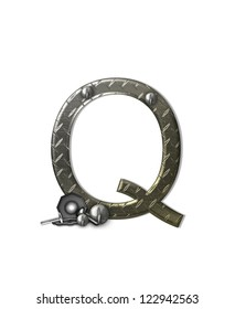 """The letter Q, in the alphabet set """"Metal Shop"""", is a chrome colored letter with etched texture.  Letter is decorated with nuts, bolts and screws.  Top of letter has rivets."""