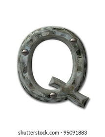 Letter Q, in the alphabet set Metal Grunge, is industrial steel fastened with 3d screws.  Letter is dirty and grungy.