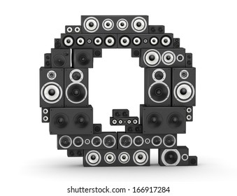 Letter Q from black hi-fi speakers sound systems