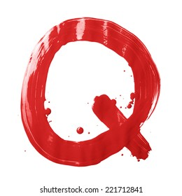 Letter Q character hand drawn with the oil paint brush strokes, isolated over the white background