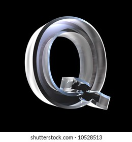 letter Q in glass 3D