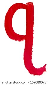 letter q hand painted by red brush on white background