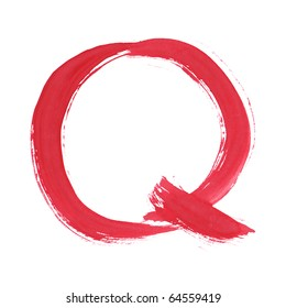 Letter Q handwritten paint stroke sketch. Red Isolated on white background. One from collection set.