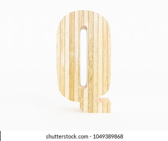 Letter Q made with wood on white background. 3d Rendering.