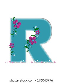 """The letter R, in the alphabet set """"Fairy Tale Garden,"""" is aqua and decorated with 3D flowers, vines and confetti."""