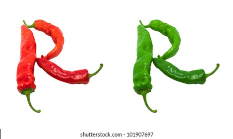 Letter R composed of green and red chili peppers. Isolated on white background