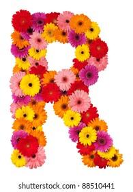 Letter R - flower alphabet isolated on white background