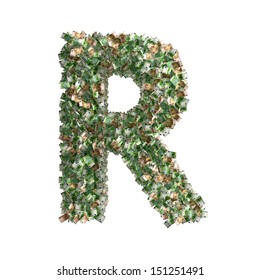 Letter R made from Euro banknotes - lots of banknotes form the letter R - 3D Rendering