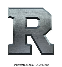 Letter R. Metal alphabet. Industrial metal font isolated on white.