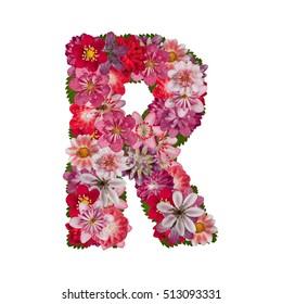 letter R red flowers alphabet