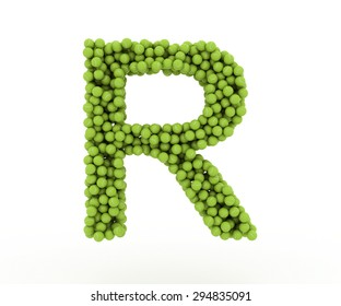 The letter R tennis balls on a white background.