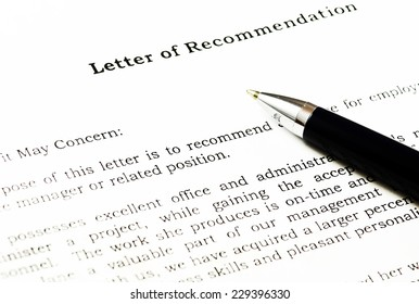 Letter of recommendation.(blank ready to be filled.)