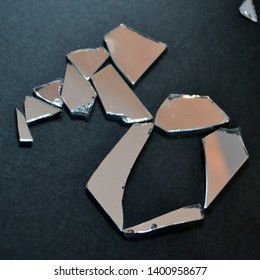 The letter of the Russian alphabet. Broken glass, shattered mirrors. Unconventional typography