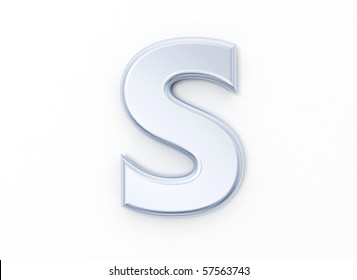 Letter S in brushed metal on a white isolated background