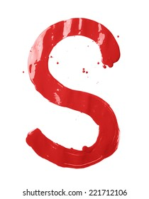Letter S character hand drawn with the oil paint brush strokes, isolated over the white background