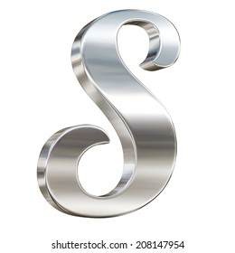 Letter S from chrome solid alphabet isolated on white