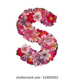 letter S red flowers alphabet