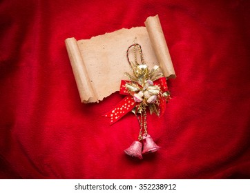 Letter to Santa Claus. Christmas red decorations with bell