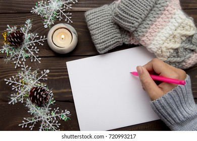 Letter to Santa Claus. A letter of congratulation with Christmas. Wish list. Christmas background.
