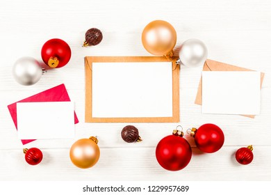 letter to santa concept festive flat lay composition with blank invitation for new year celebration