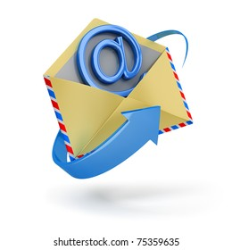 The letter surrounded with an arrow with email inside 3d image. Isolated white background.