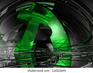 letter t in abstract futuristic space - 3d illustration