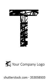 Letter T Alphabet design Stripe Cross Pattern