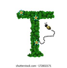 "The letter T, in the alphabet set ""Bee Buzz"", is a garland of bright green leaves with small flowers blooming.  A bee buzzes among the leaves."