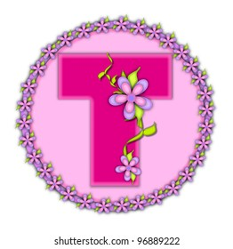 The letter T, in the alphabet set Daisy Chain, is soft pink.  Letter sits on round circle outlined with a circle of daisies.  Letters are also decorated with climbing vines and flowers.