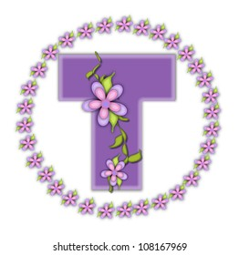The letter T, in the alphabet set Petite Ring of Petals, is soft lilac and surrounded by a circle of daisies.  Climbing vines and flowers cling to lilac letter on a white background.