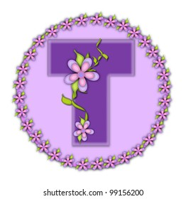 The letter T, in the alphabet set Petite Floral, is soft lilac.  Climbing vines and flowers cling to lilac letter.